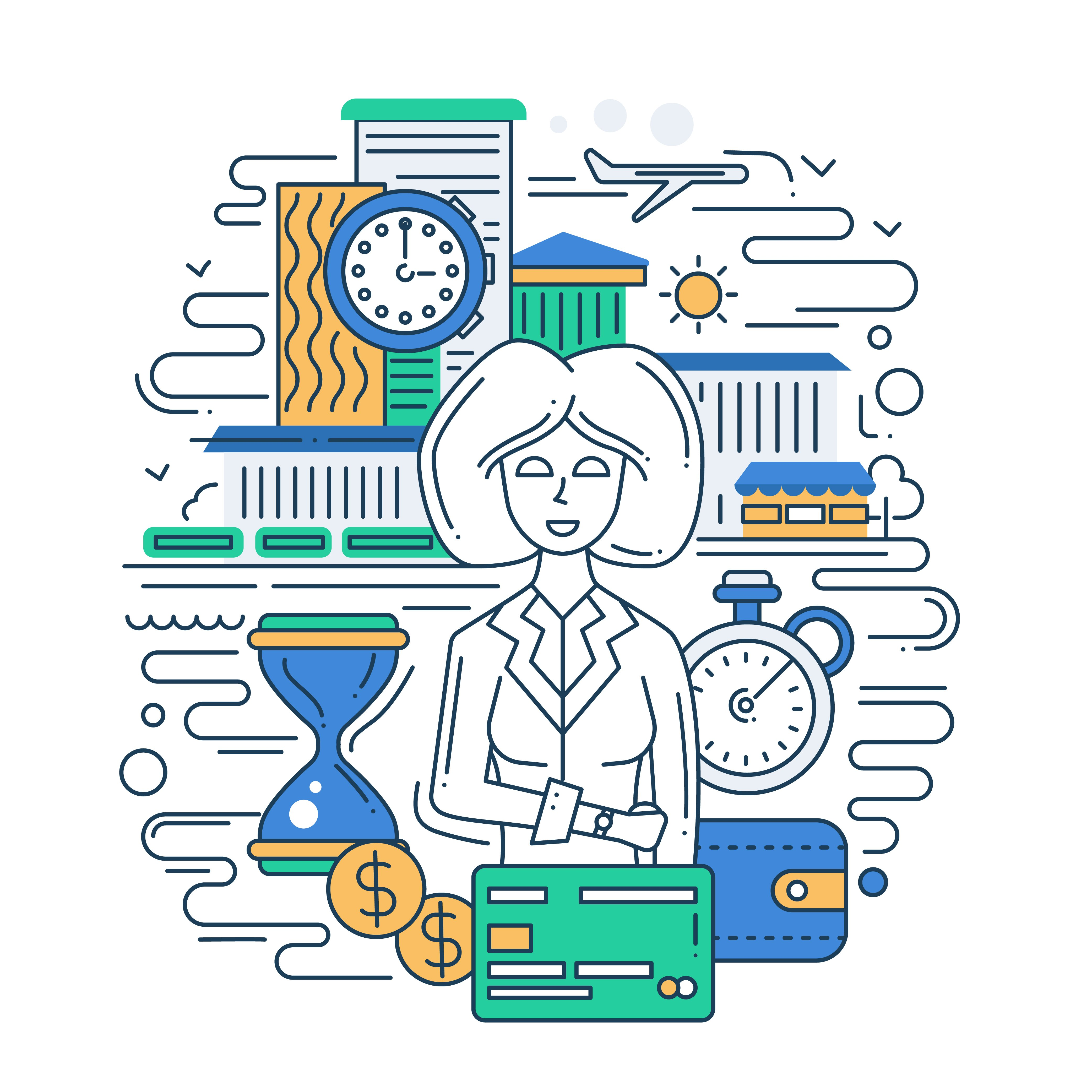 Illustration of vector modern line flat design time is money composition and infographics elements with a businesswoman