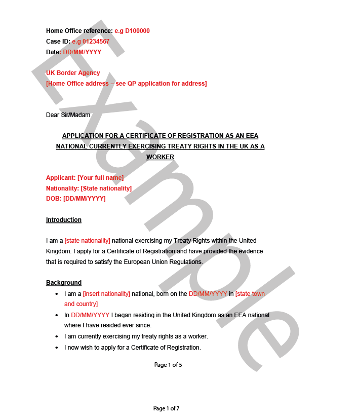 cover letter example worker - DIY UK Immigration Services Limited®