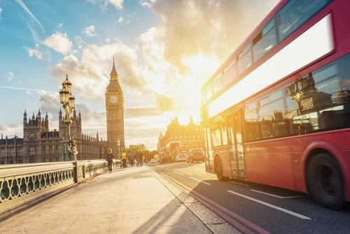 Westminster Bridge at sunset with Bus, London, UK